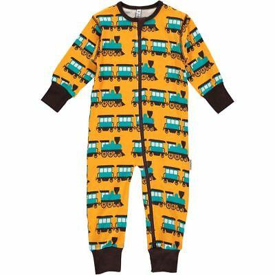 Maxomorra Rompersuit Spieler Schlafanzug Strampler GOTS Zug Train Zipper 80 NEU