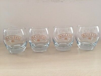 4x Baileys Glasses Tumbler Liqueur Irish Cream Excellent Clean Condition