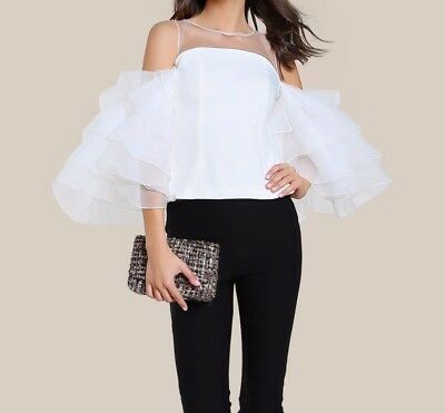 White Mesh Cutout Layered Ruffle Sleeve Top Casual Cold Shoulder Blouse