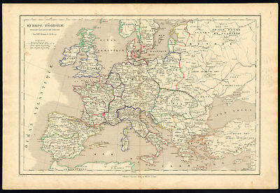 Antique map-HISTORICAL-EUROPE-FEUDAL-11TH-12TH CENTURY-Drioux-Leroy-1854