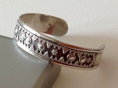 Vintage Solid Sterling Silver Large Cuff Bangle Taxco Mexico 32 Gram