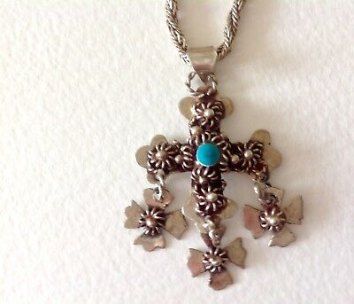 Vintage Sterling Silver Turquoise Taxco Mexico Pendant And Sterling Chain