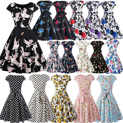 Vintage Women 50s 60s Floral Rockabilly Pinup Housewife Party Swing Tea Dress