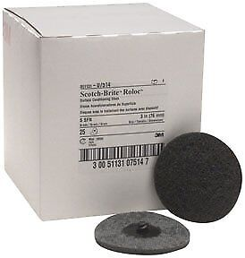 "3M 07514 Scotch-Brite Roloc 3"" Super Fine Surface Conditioning Discs, Box of 25"