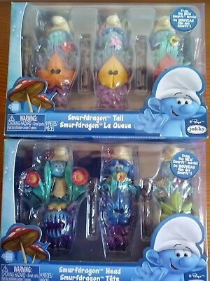 Full set of 6 Smurfs The Lost Village Figures Dragon heads/tails