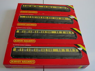 Four Hornby. OO gauge G.W.R. coaches, with boxes