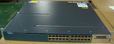 Cisco WS-C3750X-24P-E V06 24 Port Gigabit PoE+ Managed 1U Switch