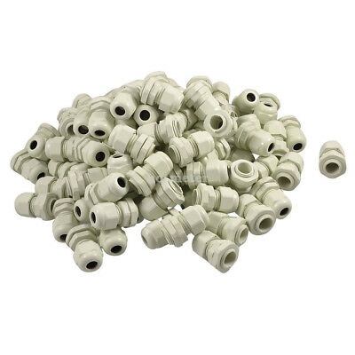 100Pcs PG9 Range 4mm- 8mm White Plastic Waterproof Cable Gland Connector 22x33mm