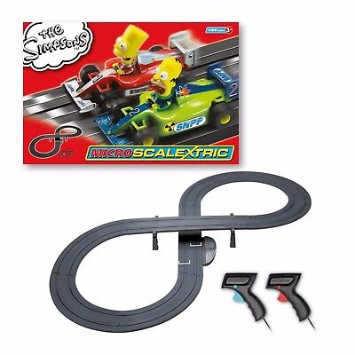 Micro Scalextric The Simpsons With 2 x Cars & Figure 8 Track NEW