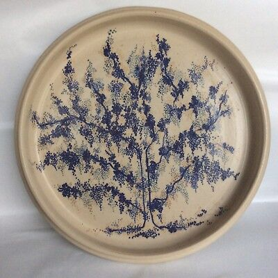 Stunning Studio Pottery Plate with Tree design in Blues Greys and Beiges.Stamped