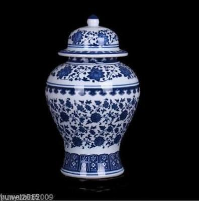 China Collectible Handwork Painting flower Blue And White porcelain Big Jar pot