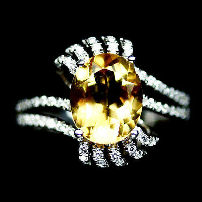 INCREDIBLE! NATURAL! 8X10mm. GOLDEN YELLOW CITRINE & CZ..925 SILVER RING SZ7.75