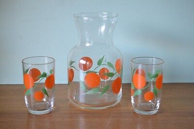 Vintage Retro juice jug Pitcher carafe  and glasses