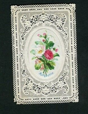"""Victorian Greetings Card ,small,early,Paper Lace ,Flowers """"Marguerite """"1871."""