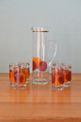 Vintage Crown jug  & glasses Pitcher & tumblers
