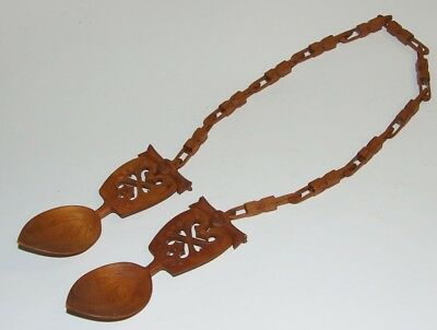 Vintage Carved Wooden Welsh Loving Spoon - Very Nice !