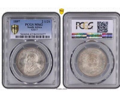 South Africa 2 1/2 Shilling 1897 Pcgs Ms62