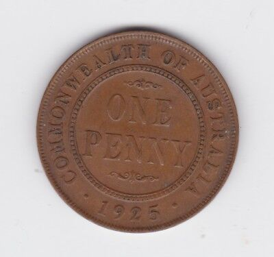 1925 George V Scarce Key Date One Penny Coin Commonwealth of Australia Q-54