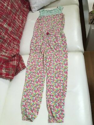 Mini Boden Girls Jumpsuit Age 9-10 Yrs Floral And Stripes