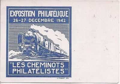 France 1942 1f.20 Petain stationery card stamp exhibition, steam train picture
