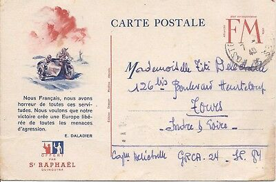 France 1940 military FM card with illustrated motorbike and sidecar used