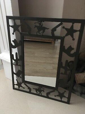 Metal Country and Western Cowboy Theme Mirror