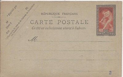 France 1924 30c Olympics stationery card unused
