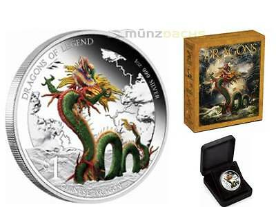 1 $ Dollar Dragons of Legend Chinese Dragon Tuvalu 1 oz Silber Silver PP 2012