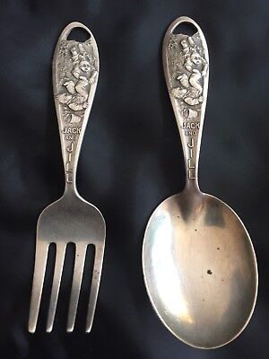 STERLING SILVER JACK AND JILL BABY Child FORK And SPOON