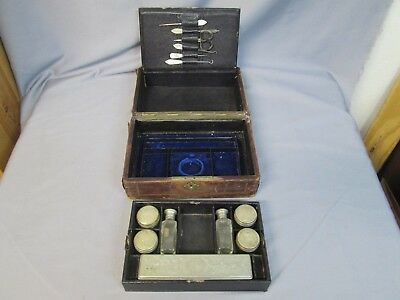 Antique Victorian Era Travel Case Partially Complete In Used Condition