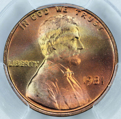 1981 PCGS MS66+RD Rainbow Toned Lincoln Cent