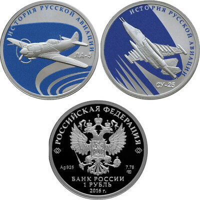2 x 1 Rubel The History of Russian Aviation Silber Proof Russland 2016 Russia