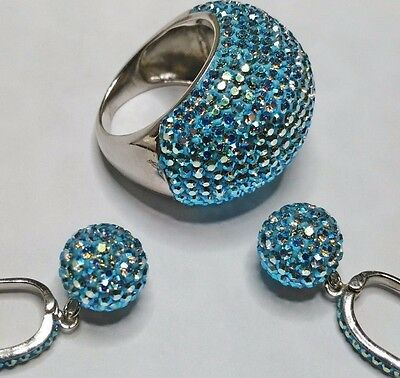 Ladys Turkish Made Jewelry 925 Silver / Micro Stones Blue Topaz Set Ring Size 7