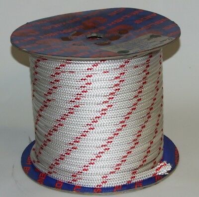 80m of Braid on Braid Red Fleck Pre Stretched Polyester 12mm Rope