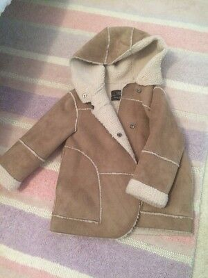 Girls Zara Sheepskin Coat Age 4-5