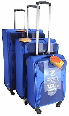 4 Wheeled Set Of 3 Lightweight Wheel Suitcase Trolley Case Travel Luggage Blue