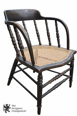 Antique Gentlemen's Lounge Club Chair Spindle Back Cane Seat Saloon Caboose