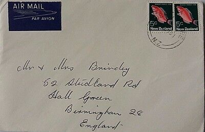New Zealand 1970 Berhampore Postmark Cover With Nice Airmail Label