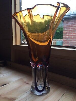 A Stunning 1980's Large Art Glass Vase