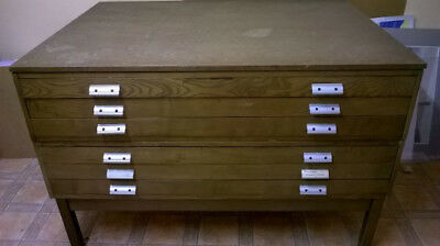Vintage Wooden Plan 6 Drawer Chest / Architects Industrial Retro A0
