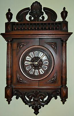 French Wood Case Wall Clock