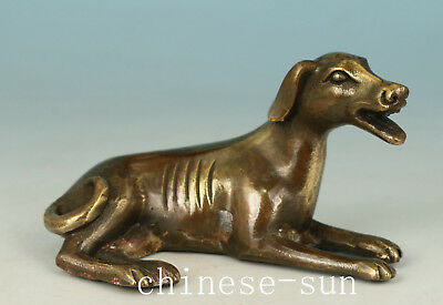 Chinese Bronze Handmade Casting Dog Lie Statue Figure Decoration
