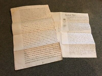 Antique Documents - Bond Of Indemnity Dated 1833 & Will Dated 1750 Devon,England