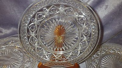 """Cape Cod-Clear 8"""" Salad Plates by Imperial Glass-Ohio Vintage Clear Glass   5"""