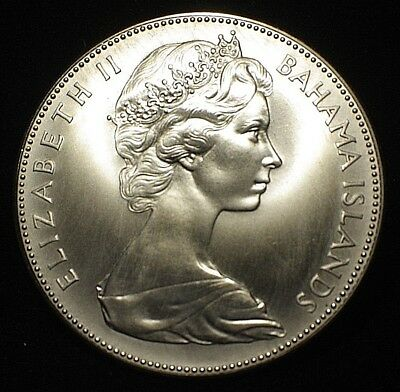 1970 Bahamas 5 FIVE Dollars BLAZING UNCIRCULATED  Sterling Silver Coin 1.25 oz