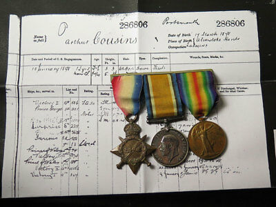 1915 Star Trio mounted as worn to 286806 A Cousins STO.1.RN.