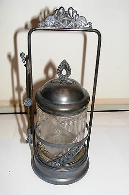Antique Signed Victorian Silver Pickle Castor with Cut Glass Jar