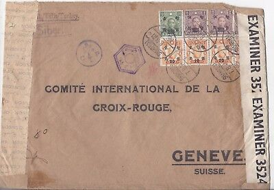 China Japan Occupation 1944 large Red Cross cover Shanghai to Switzerland