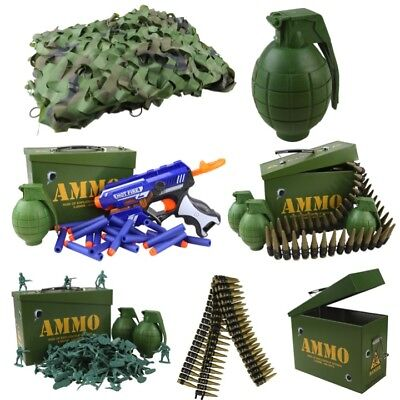Kids Army Toys Den Kit Camo Net Ammo Tin Grenade Gun Belt Boys Soldier Role Play