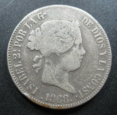 Philippines Spanish 50 Centavos 1868 Silver #s Isabella Spain Crown Money Coin